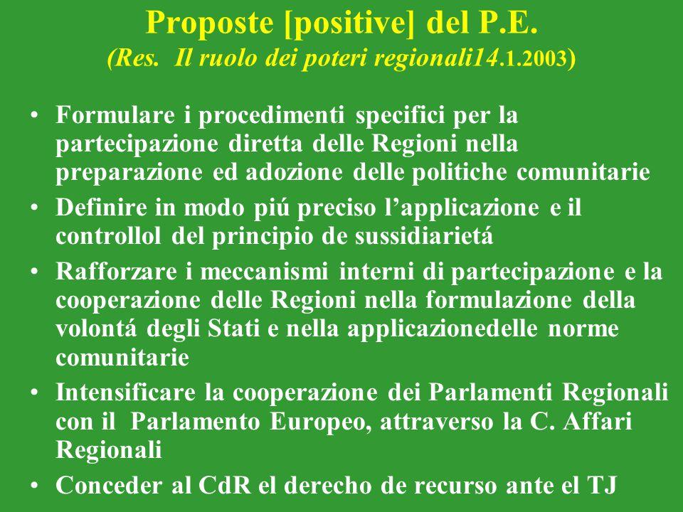 Proposte [positive] del P. E. (Res. Il ruolo dei poteri regionali14. 1